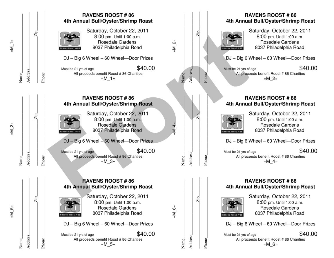 sample raffle tickets template numbered ticket template – Tickets Format